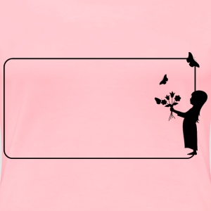 Girl With Flowers Frame - Women's Premium T-Shirt