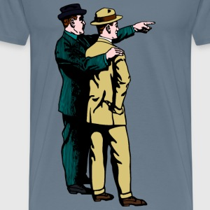 Man in hat pointing, blue and brown - Men's Premium T-Shirt