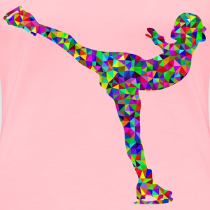 Prismatic Low Poly Ice Skating Woman - Women's Premium T-Shirt