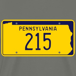 Pennsylvania Area Code 215 Retro License Plate - Men's Premium T-Shirt
