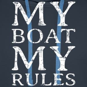 My Boat my Rules Vintage White Men's Long Sleeve - Men's Premium Hoodie