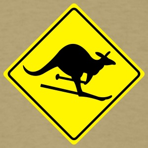 roadsign kangaroo skiing - Men's T-Shirt