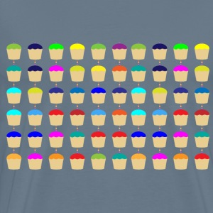 Seamless Colorful Cupcakes With Candles Pattern - Men's Premium T-Shirt