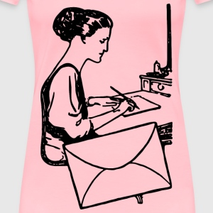 Woman Writing a Letter - Women's Premium T-Shirt