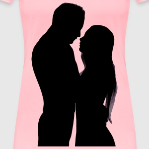 Embracing Couple Silhouette - Women's Premium T-Shirt