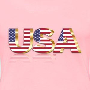 USA Flag Typography Gold With Reflection No Backgr - Women's Premium T-Shirt