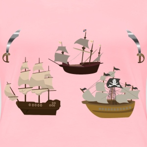 Three Pirate Ships - Women's Premium T-Shirt
