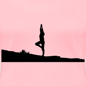 Female Yoga Pose Silhouette - Women's Premium T-Shirt