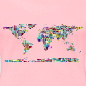 Chromatic Checkered Crystalline World Map - Women's Premium T-Shirt