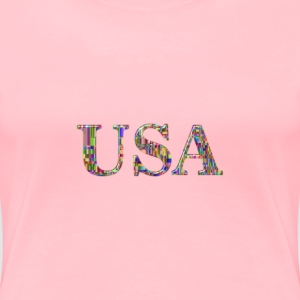 Checkered Chromatic USA Typography Enhanced - Women's Premium T-Shirt