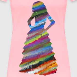 Low Poly Prismatic Streaked Formal Gown Woman - Women's Premium T-Shirt