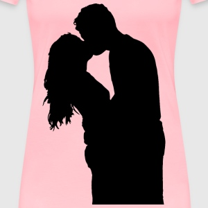 Kissing Couple Silhouette - Women's Premium T-Shirt