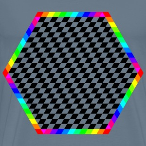 Rainbow Hexagon Ring with chessboard inside - Men's Premium T-Shirt