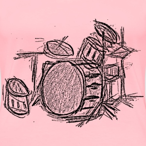 Drum Set in Black and White - Women's Premium T-Shirt