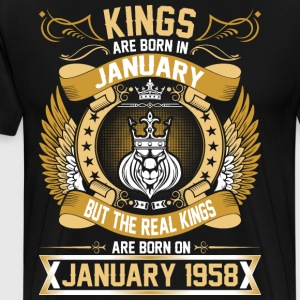 The Real Kings Are Born On January 1958 T-Shirts - Men's Premium T-Shirt