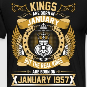The Real Kings Are Born On January 1957 T-Shirts - Men's Premium T-Shirt