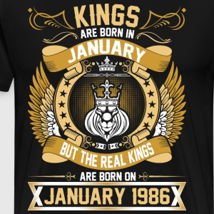 The Real Kings Are Born On January 1986 T-Shirts - Men's Premium T-Shirt