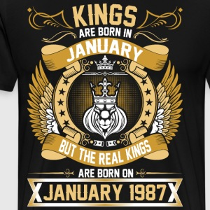 The Real Kings Are Born On January 1987 T-Shirts - Men's Premium T-Shirt