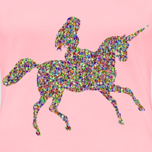 Chromatic Bejeweled Woman Riding Unicorn - Women's Premium T-Shirt