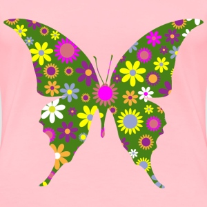 Retro Floral Butterfly 3 - Women's Premium T-Shirt