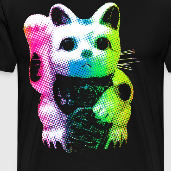 Rainbow Lucky Cat - Maneki Neko - Men's Premium T-Shirt