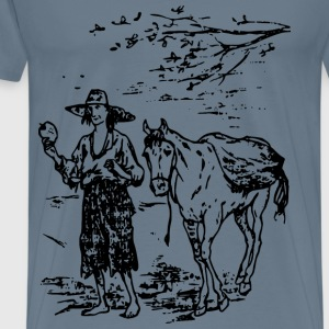 Johnny Appleseed and Horse - Men's Premium T-Shirt