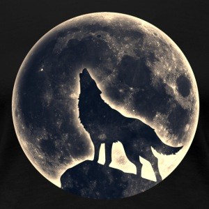 Howling Wolf, Full Moon, Animals, Nature, Pagan T-Shirts - Women's Premium T-Shirt