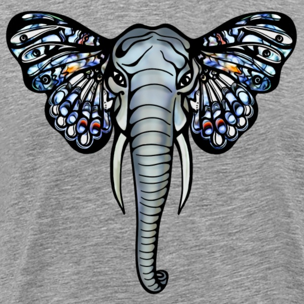 Butterfly Elephant, Animals Nature, Ears, Wildlife T-Shirts - Men's Premium T-Shirt