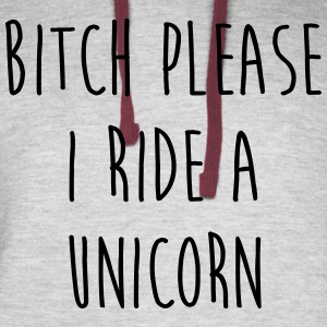 Ride A Unicorn Funny Quote Hoodies - Colorblock Hoodie