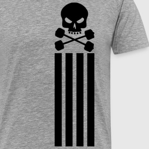 Skull and Barbell - Vertical Stripes T-Shirts - Men's Premium T-Shirt