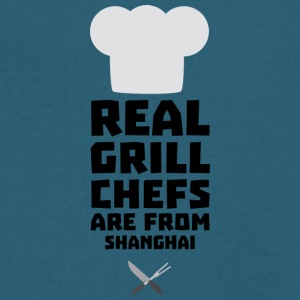 Real Grill Chefs are from Shanghai Sf0mg T-Shirts - Men's V-Neck T-Shirt by Canvas