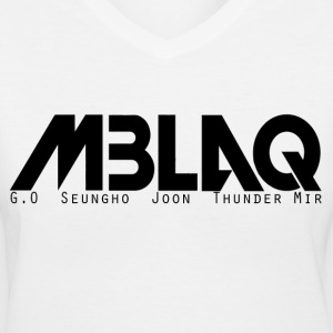 MBLAQ Member's Names in Black Women's V-Neck - Women's V-Neck T-Shirt