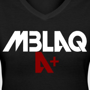 MBLAQ A+ in White/Red Women's V-Neck - Women's V-Neck T-Shirt