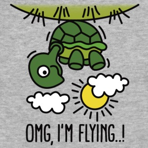 OMG, I'm flying! Turtle T-Shirts - Fitted Cotton/Poly T-Shirt by Next Level