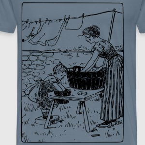 Mother and Daughter do Laundry - Men's Premium T-Shirt