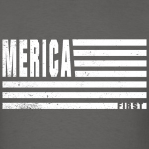 4th Of July Gift Merica First White Distressed T-Shirts - Men's T-Shirt