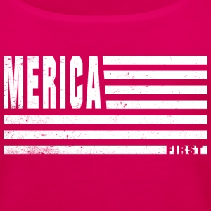 4th Of July Gift Merica First White Distressed Tanks - Women's Premium Tank Top