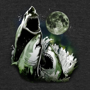 3 SHARK MOON T-Shirts - Unisex Tri-Blend T-Shirt by American Apparel