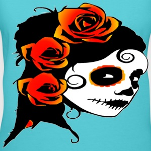 Day Of The Dead Roses Tattoo  - Women's V-Neck T-Shirt