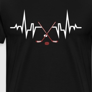 Hockey Player Heartbeat EKG T-Shirt T-Shirts - Men's Premium T-Shirt