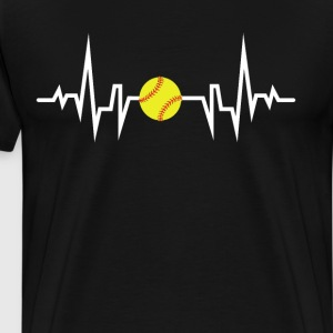 Softball Player Heartbeat EKG T-Shirt T-Shirts - Men's Premium T-Shirt