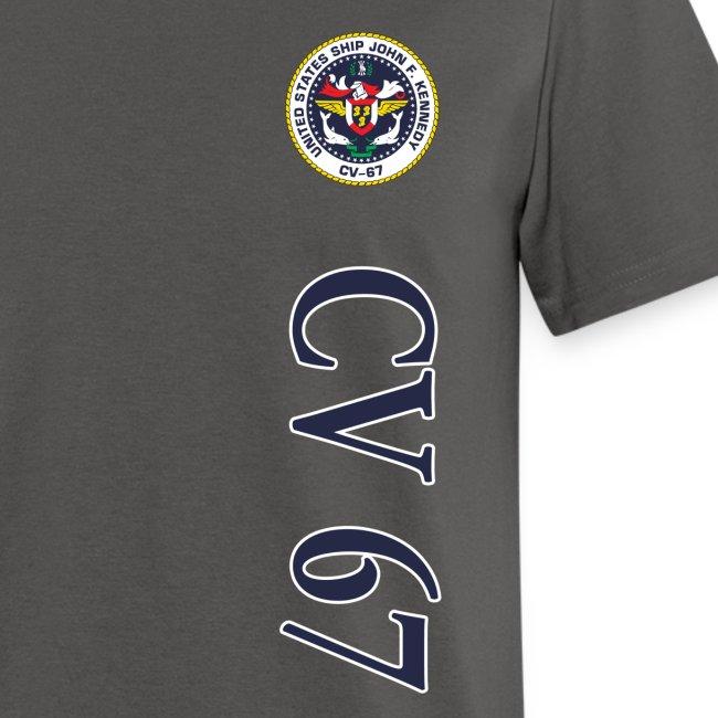 USS JOHN F KENNEDY CV-67 STRIPE TEE w/ USA FLAG SLEEVE PRINT