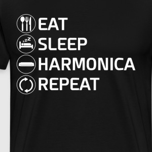 Eat Sleep Harmonica Repeat Mouth Organ T-Shirt T-Shirts - Men's Premium T-Shirt