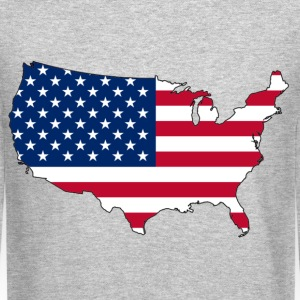 USA Flag Map Long Sleeve Shirts - Crewneck Sweatshirt