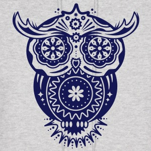 an owl with different decorations in the style of the Mexican Sugar Skulls Hoodies - Men's Hoodie