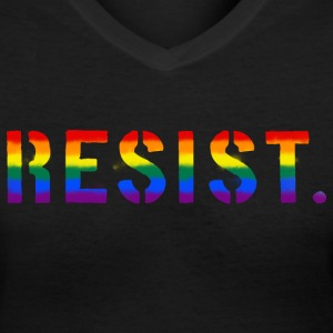 Resist LGBT Pride Rainbow Flag T-Shirts - Women's V-Neck T-Shirt