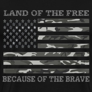 Land of The Free Camo American Flag - Men's Premium T-Shirt
