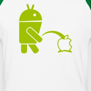 Anroid Peeing On A Apple - Baseball T-Shirt