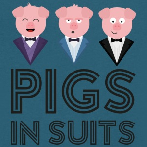 Pigs in Suits Sw435 T-Shirts - Men's V-Neck T-Shirt by Canvas