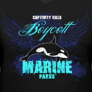 Captivity Kills Orca design - Women's V-Neck T-Shirt